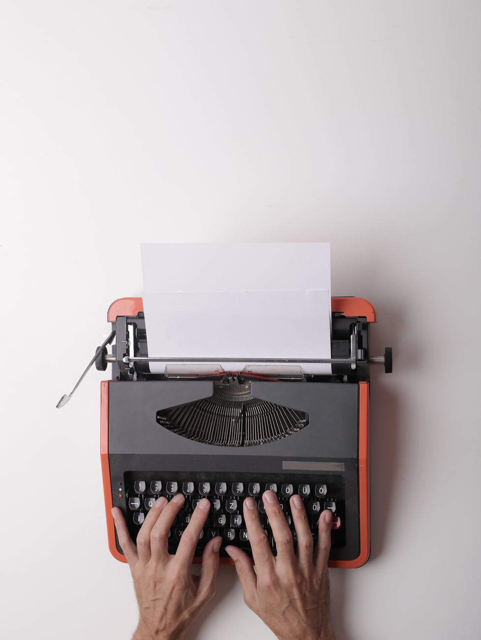 writer typing a story